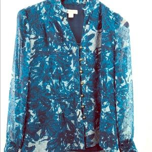 Coldwater Creek woman's floral button down blouse